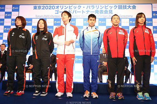 (L-R) Yui Hashimoto, Minatsu Mitani, Takuro Yamada, Tadashi Horikoshi, Hirokatsu Tayama, Yuka Sato, JANUARY 26, 2015 : NTT corporation has Press conference at Hotel Okura Tokyo. NTT corporation today announced that it has entered into a partnership agreement with the Tokyo Organising Committee of the Olympic and Paralympic Games.<br /> (Photo by Shingo Ito/AFLO SPORT)