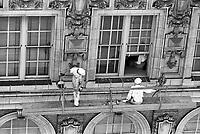 Window washers at work on high-rise building, Atlanta, Georgia, 1952. Credit: © John G. Zimmerman Archive