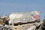 Rubble with a message in Shejaiya, a neighborhood of Gaza City that was hard hit by the Israeli military during the 2014 war.
