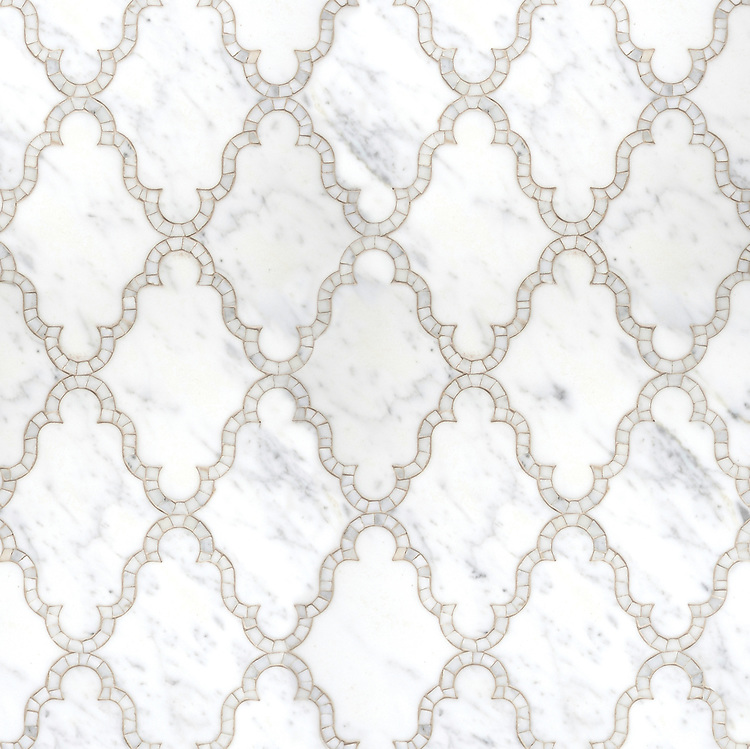 Dervish, a natural stone waterjet and hand cut mosaic shown in polished Calacatta Tia, is part of the Silk Road Collection by Sara Baldwin for New Ravenna Mosaics. <br />