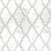 Dervish, a waterjet and hand cut stone mosaic shown in polished Calacatta Tia, is part of the Silk Road Collection by Sara Baldwin for New Ravenna Mosaics. <br />
