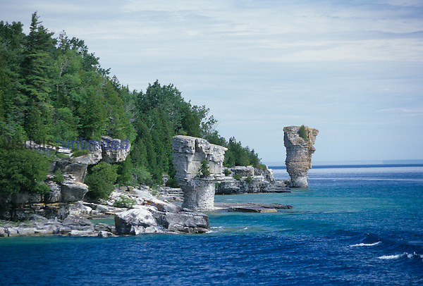 Flowerpot Island where sea stacks have been formed from erosion. Lake Huron