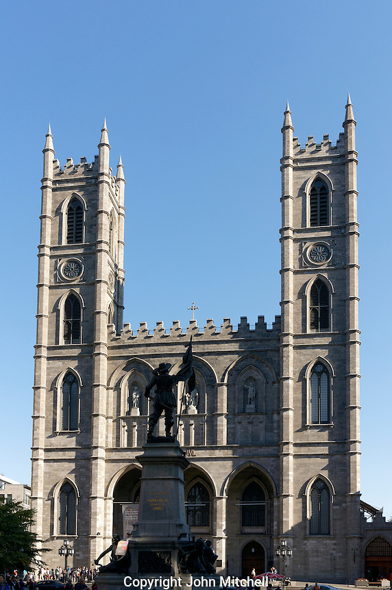 Maisonneuve Monument and Notre Dame Basilica on Place d'Armes, Old Montreal Quebec, Canada
