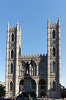 Maisonneuve Monument and Notre Dame Basilica on Place d'Armes, Old Montreal Quebec, Canada