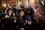 Same-sex couple Maria Ydril, center left, and Vanessa Judipli, center right, celebrate a federal court ruling striking down California's Proposition 8 in San Francisco, California's City Hall,  August 4, 2010..CREDIT: Max Whittaker for The Wall Street Journal.PROP8