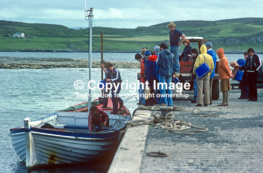 "Visitors & residents board the ""ferry"" from Rathlin Island, to Ballycastle,Co Antrim, N Ireland, UK, 197809000241d..Copyright Image from Victor Patterson, 54 Dorchester Park, Belfast, United Kingdom, UK...For my Terms and Conditions of Use go to http://www.victorpatterson.com/Victor_Patterson/Terms_%26_Conditions.html"