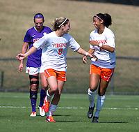 Morgan Brian (6) of Virginia celebrates her goal with teammate Gloria Douglas (7) at Klockner Stadium in Charlottesville, VA.  Virginia defeated Clemson, 3-0.
