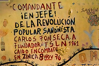 A revolutionary writing seen on the wall of the Sandinista museum in Leon, Nicaragua, 12 November 2004. The Sandinista National Liberation Front (in Spanish: Frente Sandinista de Liberación Nacional, or FSLN) is a socialist political party in Nicaragua. The FSLN is one of Nicaragua's two leading parties. Sandinistas took their name from Augusto César Sandino (1895-1934), the historical leader of Nicaragua's nationalist rebellion against the US occupation of the country in the 1930s. In 1979 the FSLN overthrew the Somoza dynasty and ruled Nicaragua from 1979 to 1990. They left power in 1990 after free elections. In 2006, the former President Daniel Ortega, the leader of the party, was re-elected President of Nicaragua.