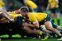 Michael Hooper of Australia in action at a scrum. The Rugby Championship match between Argentina and Australia on October 8, 2016 at Twickenham Stadium in London, England. Photo by: Patrick Khachfe / Onside Images