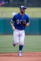 Chris Taylor (3) of the Oklahoma City Dodgers heads to the dugout during a game against the Iowa Cubs at Chickasaw Bricktown Ballpark on April 9, 2016 in Oklahoma City, Oklahoma.  Oklahoma City defeated Iowa 12-1 (William Purnell/Four Seam Images)