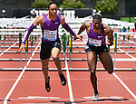 Pascal Martinot-Lagarde of France (L) crosses the finish line ahead of David Oliver of the USA to win the Men's 110 meter Hurdles on the final day of the Prefontaine Classic at Hayward Field in Eugene, Oregon, USA, 30 MAY 2015. (EPA photo by Steve Dykes)