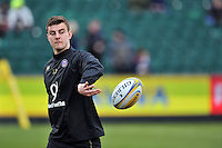 Ollie Devoto of Bath Rugby in action during the pre-match warm-up. Aviva Premiership match, between Bath Rugby and Wasps on February 20, 2016 at the Recreation Ground in Bath, England. Photo by: Patrick Khachfe / Onside Images