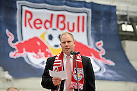 Red Bull New York Managing Director Erik Stover address the media during the topping off ceremony at Red Bull Arena in Harrison, NJ, on April 14, 2009.