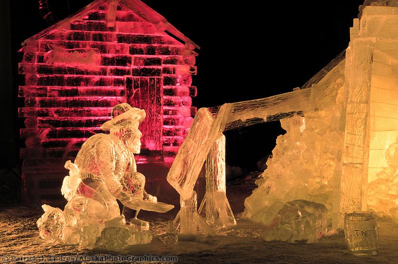Multi Block Ice sculpture at the World Ice Art Championships held each march in Fairbanks, Alaska