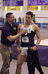 10 MAR 2012: Nick Lebron of Southern Connecticut State University gets congratulated by his coach after the heptathlon results came in announcing him as the winner during the Division II Men's and Women's Indoor Track and Field Championship held at Myers Fieldhouse on the campus of Minnesota State University, Mankato, in Mankato, MN.  Brian Fowler/NCAA Photos