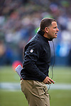 Tampa Bay Buccaneers head coach Greg Schiano yells at the officials  at CenturyLink Field in Seattle, Washington on  November 3, 2013.  The Seahawks beat the Buccaneers 27-24 in overtime.  ©2013. Jim Bryant. All Rights Reserved.