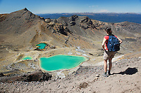 qj1006-D. hiker (model released) looks down on the Emerald Lakes- stunning volcanic scenery along the Tongariro Alpine Crossing, a very popular hike. North Island, New Zealand.<br /> Photo Copyright &copy; Brandon Cole. All rights reserved worldwide.  www.brandoncole.com<br /> <br /> This photo is NOT free. It is NOT in the public domain. This photo is a Copyrighted Work, registered with the US Copyright Office. <br /> Rights to reproduction of photograph granted only upon payment in full of agreed upon licensing fee. Any use of this photo prior to such payment is an infringement of copyright and punishable by fines up to  $150,000 USD.<br /> <br /> Brandon Cole<br /> MARINE PHOTOGRAPHY<br /> http://www.brandoncole.com<br /> email: brandoncole@msn.com<br /> 4917 N. Boeing Rd.<br /> Spokane Valley, WA  99206  USA<br /> tel: 509-535-3489