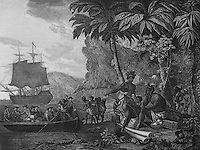 Arrival of Europeans in Africa in search of slaves, engraving by Nicolas Colbert after Amedee Frerot, 1795, in the Musee d'Aquitaine, Cours Pasteur, Bordeaux, Aquitaine, France. Picture by Manuel Cohen