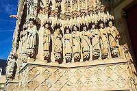 Tympanum of central west portal: an array of saints.  Gothic Cathedral of Notre-Dame, Amiens, France