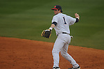 Ole Miss second baseman Preston Overbey (1) throws to first for the out vs. UT-Martin at Oxford-University Stadium in Oxford, Miss. on Wednesday, February 20, 2013. Ole Miss won 15-2 to improve to 4-0.