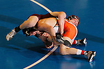 12 MAR 2011: Michael Lybarger of Findlay wrestles Zach McKendree of Gannon during the Division II Men's Wrestling Championship held at the UNK Health and Sports Center on the University of Nebraska - Kearney campus in Kearney, NE. Lybarger defeated McKendree 3-1 to win the 165-lb national title. Corbey R. Dorsey/ NCAA Photos