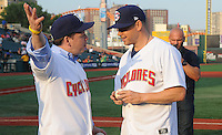 NEW YORK, NY - July 21: Actor and singer Donnie Wahlberg visits MCU Park in Brooklyn , New York on July 21, 2016. Wahlberg threw out the first pitch before the game between the Aberdeen Iron Birds and the Brooklyn Cyclones and also practiced on the field before the game.Afterwards Wahlberg meet with Mookie Wilson and Cyclones Manager Tom Gamboa.  Photo Credit: John Palmer/ MediaPunch