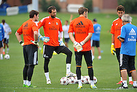 Saint Louis, MO August 1 2013<br /> Real Madrid goalkeeping coach William Vecchi talks with the goalkeepers.<br /> Real Madrid practiced at Herman Stadium on the campus of Saint Louis University ahead of their international friendly with Inter Milan at the Edward Jones Dome.