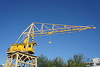 Old yellow loading crane, Vancouver, British Columbia, Canada