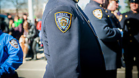 An NYPD patch on an officer's dress uniform in New York on Sunday, March 5, 2017. (© Richard B. Levine)