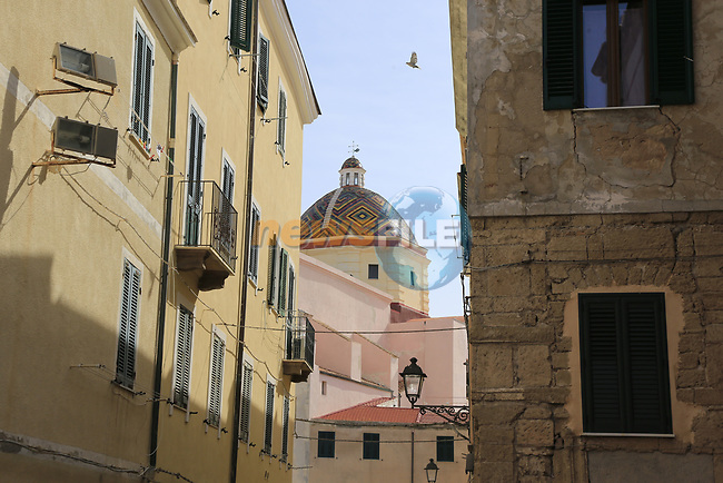 Alghero town before the start of Stage 1 of the 100th edition of the Giro d'Italia 2017, running 206km from Alghero to Olbia, Sardinia, Italy. 4th May 2017.<br /> Picture: Eoin Clarke | Cyclefile<br /> <br /> <br /> All photos usage must carry mandatory copyright credit (&copy; Cyclefile | Eoin Clarke)