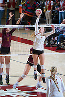 STANFORD, CA - October 15, 2016: Jenna Gray at Maples Pavilion. The Cardinal defeated the Arizona State Sun Devils 3-1.