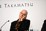 British sculptor, photographer and painter Richard Long listens to a question being translated through an ear phone during a media event formally announcing the winners of this year's Praemium Imperiale, a global arts prize that is awarded annually, in Tokyo, Japan on Wed., Oct. 21 2009. Other winners included Britions playwright Tom Stoppard and architect Zaha Hadid..Photographer: Robert Gilhooly