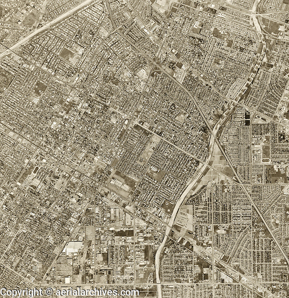 historical aerial photograph Downey, Los Angeles County, 1963