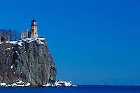 Split Rock Lighthouse on Lake Superior in winter at Split Rock Lighthouse State Park near Two Harbors Minnesota.
