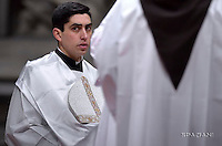 """Altar boy;Pope Francis """"feast of candles"""" during Holy Mass for the Solemnity of the presentation of Our Lord at St Peter's basilica at the Vatican. on Febraury 2, 2017"""