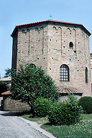 Italy: Ravenna--The Neone Baptistry, 452. An old Roman bath was transformed into this Baptistry under Bishop Neone, 5th C. Distant ancestor of 14th-15th C. Baptistry in Florence. Photo '83.