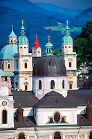 Churches of the Old Town (Cathedral in center), Salzburg, Austria