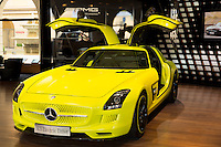 AMG SLS Coupe Electric Drive motor car on display at AMG Mercedes gallery showroom in Odeonsplatz, Munich, Bavaria, Germany