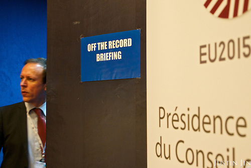 "A ""off the record"" sign at the EU Council."