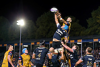 Zach Mercer of Bath Rugby competes for the ball at a lineout. European Rugby Challenge Cup match, between Bath Rugby and Bristol Rugby on October 20, 2016 at the Recreation Ground in Bath, England. Photo by: Rogan Thomson /JMP for Onside Images