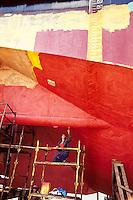 ROMANIA, Tulcea, July 1986..Tricolor boat at the shipyards in Tulcea..ROUMANIE, Tulcea, juillet 1986..Bateau tricolore aux chantiers de Tulcea..© Andrei Pandele / EST&OST