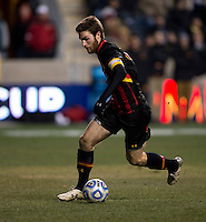 Patrick Mullins (15) of Maryland sprints upfield during the NCAA Men's College Cup final at PPL Park in Chester, PA.  Notre Dame defeated Maryland, 2-1.