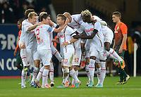 FUSSBALL   1. BUNDESLIGA  SAISON 2012/2013   7. Spieltag FC Augsburg - Werder Bremen          05.10.2012 Jubel nach dem Tor zum 3:1, Paul Verhaegh, Daniel Baier, Aristide Bance (v. li., FC Augsburg)