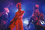 Tony James front man and lead singer of Sigue Sigue Sputnik. Punk band 1980s. ? on keyboards and Martin Degville. Newcastle Upon Tyne. UK