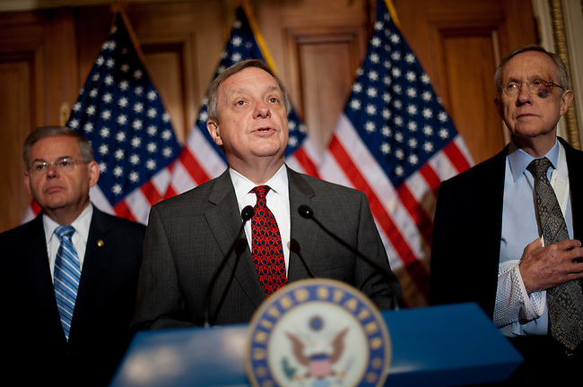 During a press conference on Capitol Hill Wednesday, Senator  DICK DURBIN (D-IL) along with Senate Majority Leader Harry Reid (D-NV)  and Senator ROBERT MENENDEZ (D-NJ) tell reporters that the Senate will revive the Dream Act that failed during the lame-duck session of the last Congress, when Democrats controlled both chambers.