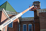Construction crews are in the process of doing stabilazation work on the exterior of the main building at the Ridges on September 16, 2015. Photo by Emily Matthews