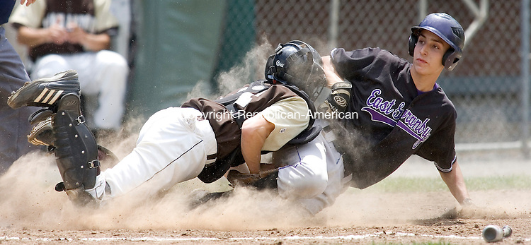 BRISTOL, CT. 01 June 2008-060108SV05--#31 Jordan Gomes of Thomaston High tags #16 Nikoli Sotil of East Granby out at the plate during Thomaston's 1-0 win in the CIAC Class S quarterfinals at Muzzy Field in Bristol Sunday.<br />  Steven Valenti Republican-American