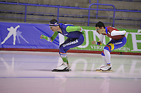 SPEEDSKATING: CALGARY: 13-11-2015, Olympic Oval, training Jan Blokhuijzen (NED), Pedro Causil (COL), ©foto Martin de Jong