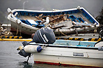 A seagull rests atop of the motor of a fisheries vessel salvaged from the harbor  at Ayukawa on the Oshika Peninsula, Miyagi Prefecture, Japan on 31 May, 2011..Photographer: Robert Gilhooly