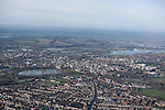 The  Thames, Oxford in  flood . <br /> View of Oxford, looking  North West over St Clements, East Oxford and the Cowley road,   with  Portmeadow to the top , a natural flood plain.